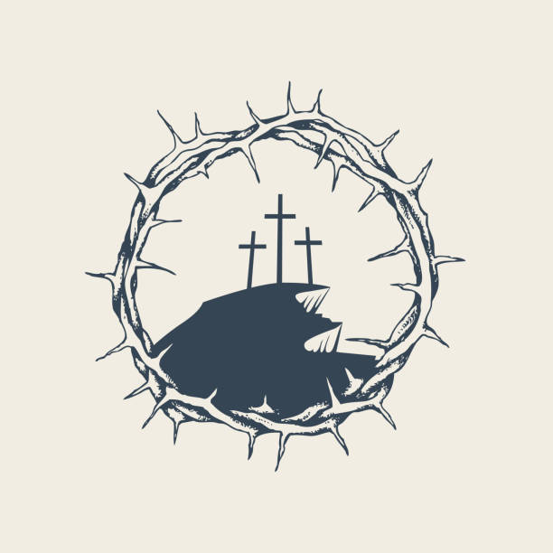 Mount Calvary with three crosses in crown of thorns Vector banner, icon or emblem with mount Calvary and three crosses inside a crown of thorns. Religious illustration on the theme of Easter and Good Friday seven deadly sins stock illustrations
