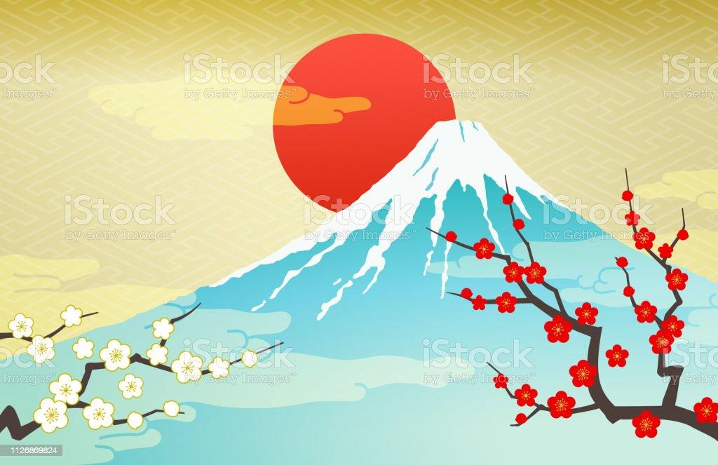 富士山と紅白の梅と日の出 お祝いのベクターアート素材や画像を多数
