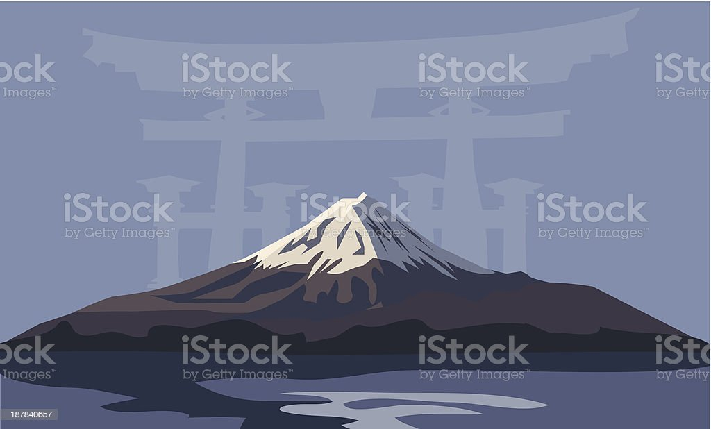 Mount Fuji and Torii Gate vector art illustration