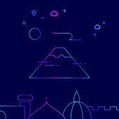 Mount Fuji, Japan Vector Line Icon, Illustration on a Dark Blue Background. Related Bottom Border