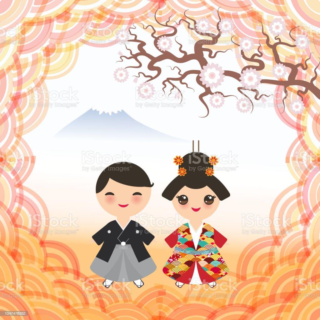 85c6843de Ilustración de Monte Paisaje De Montaña Japon Muchacho Y Muchacha En ...