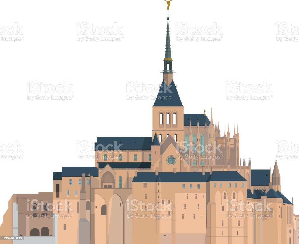Mount Saint Michel, France. Isolated on white background vector illustration.