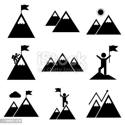 Mount Set icon, logo isolated on white background. Climbing a mountain, conquered a mountain, way up, high in the mountains