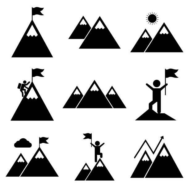 ilustraciones, imágenes clip art, dibujos animados e iconos de stock de icono de conjunto de montaje, logotipo aislado sobre fondo blanco. escalando una montaña, conquistó una montaña, muy arriba, en lo alto de las montañas - mountain top
