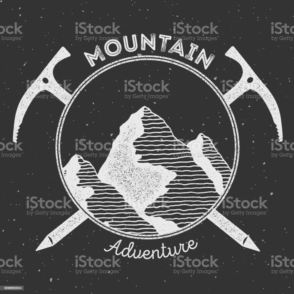 Mountain adventure and expedition insignia badge collection. vector art illustration
