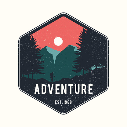 Mountain adventure badge logo