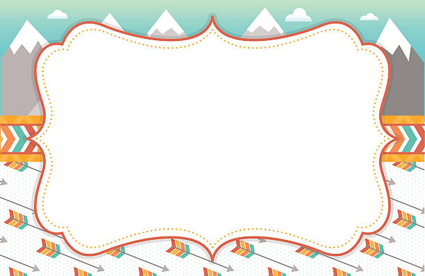 Mountain and Arrow Background Frame A vector illustration of an empty frame with mountains, arrows and tribal elements in the background. adventure borders stock illustrations