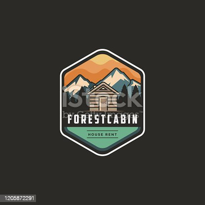 Vintage modern outdoor emblem icon with Mountain view and cabin house in forest
