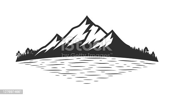 Vector mountain silhouette and coniferous forest near mountain lake or river