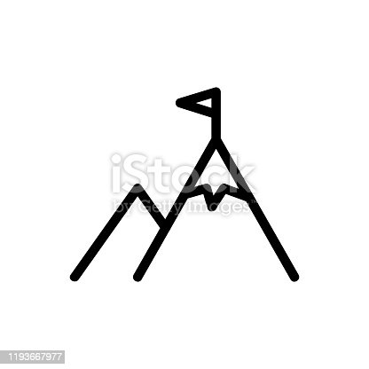 istock mountain and flag icon vector. Isolated contour symbol illustration 1193667977