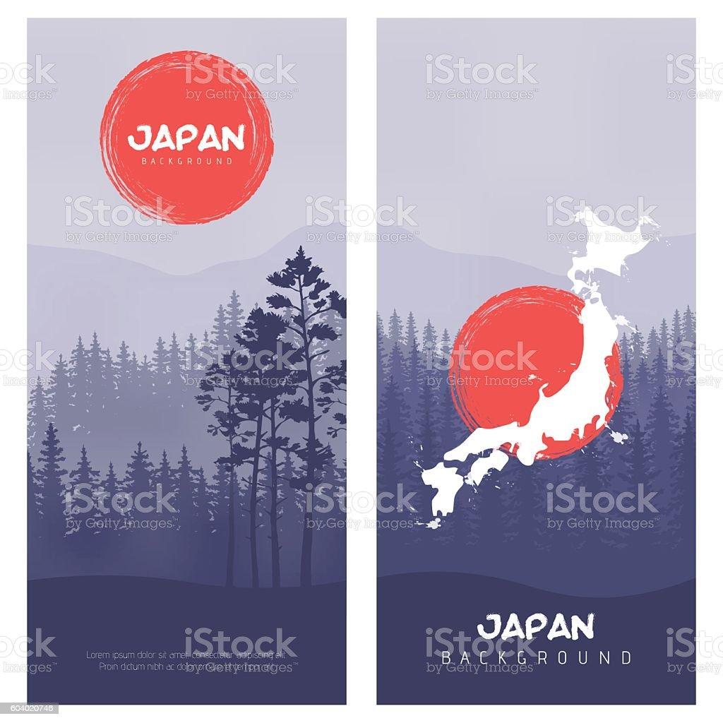 Mountain and forest landscape. Illustration of Japan Flag Vector Background. vector art illustration
