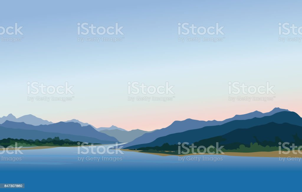 Mountain and hills landscape. Rural skyline. Lake view. Lagoon r vector art illustration
