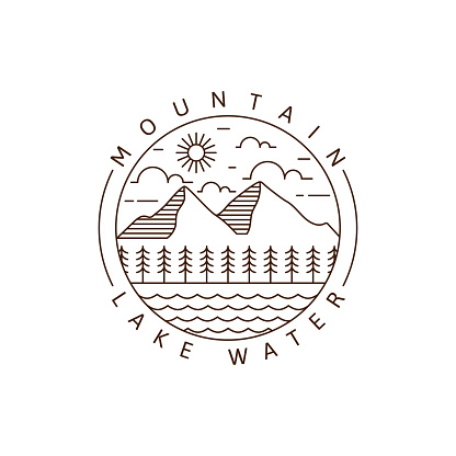 Mountain and lake monoline or line art style vector illustration