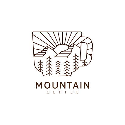 Mountain and mug illustration monoline or line art style vector