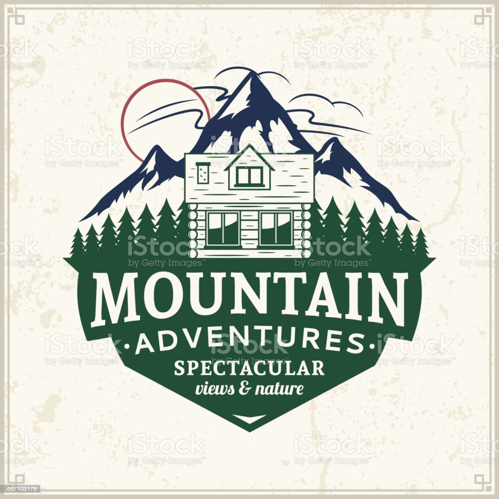 Mountain and outdoor adventures badge vector art illustration