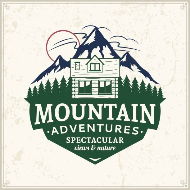 mountain and outdoor adventures badge - log cabin stock illustrations, clip art, cartoons, & icons
