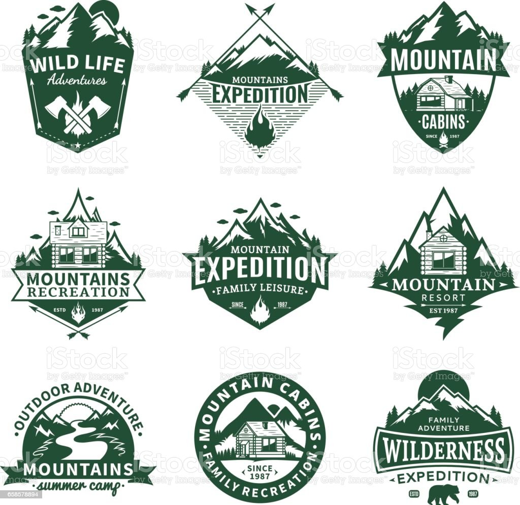 Mountain and outdoor recreation labels vector art illustration