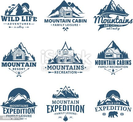 Set of vector mountain and outdoor recreation labels. Mountains and travel icons for tourism organizations, outdoor andventures and camping leisure