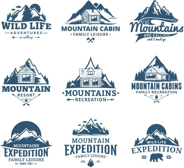 mountain and outdoor recreation labels - log cabin stock illustrations, clip art, cartoons, & icons