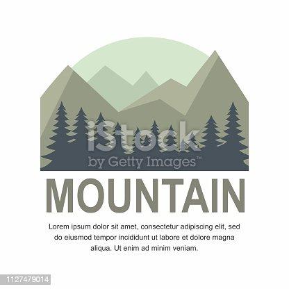 Mountain and Pine tree Logo design. Vector Illustration