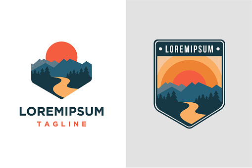 mountain and river landscape adventure vector template on white background