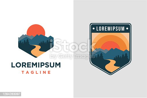 istock mountain and river landscape adventure vector template 1264283097