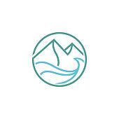 editable vector icon of modern minimalist mountain and sea.