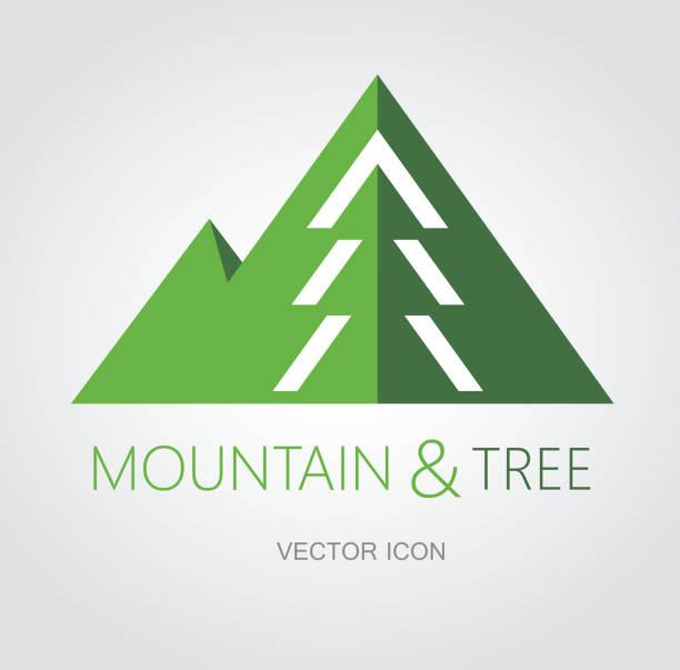 Berg-und Baumsymbol – Vektorgrafik