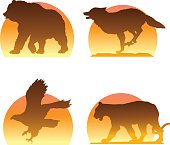 Vector art of mountain and forest animal silhouettes. Elements are grouped and conveniently layered.
