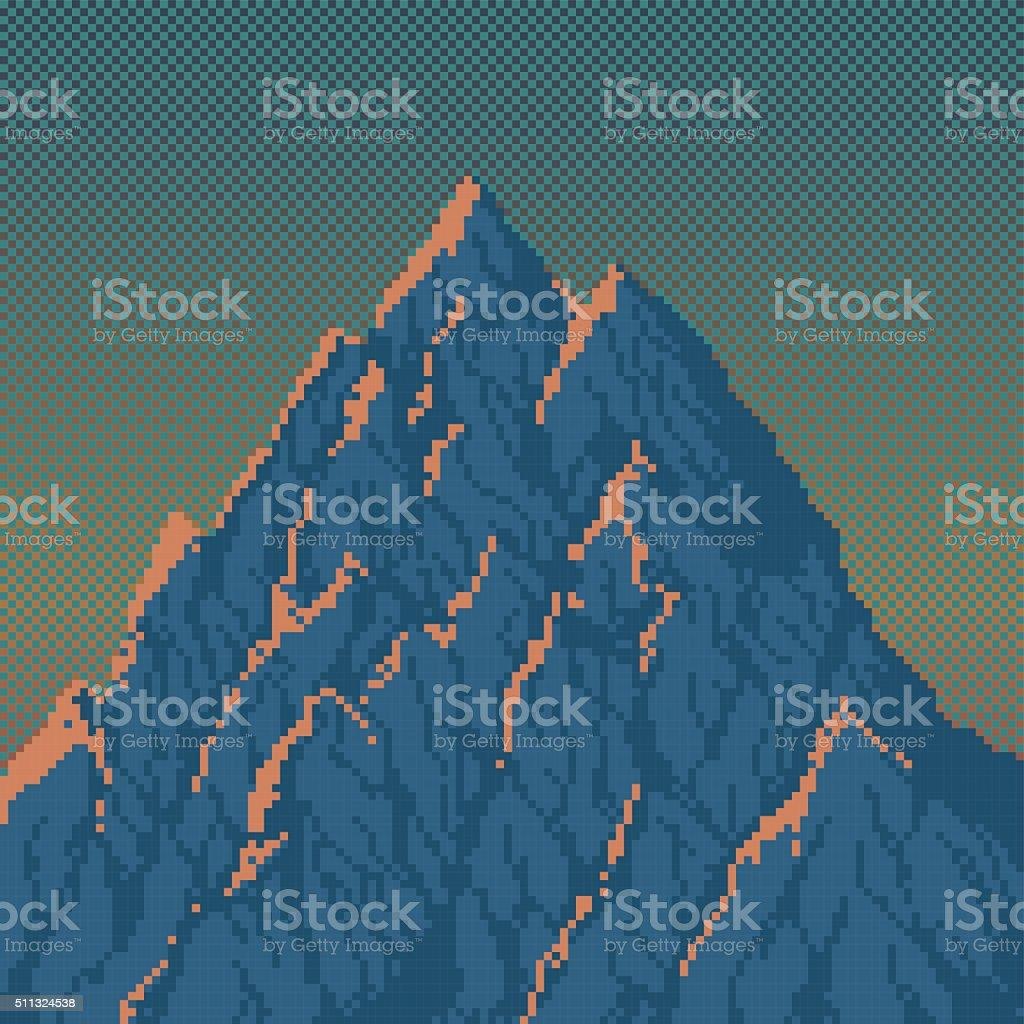 Mountain at Sunrise - Pixel Art Illustration vector art illustration