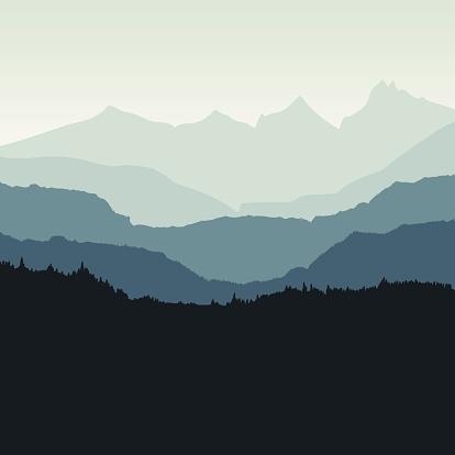 Mountain backdrop vector illustration.