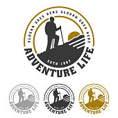 Mountain badge, camping and hiking emblem design, adventure life