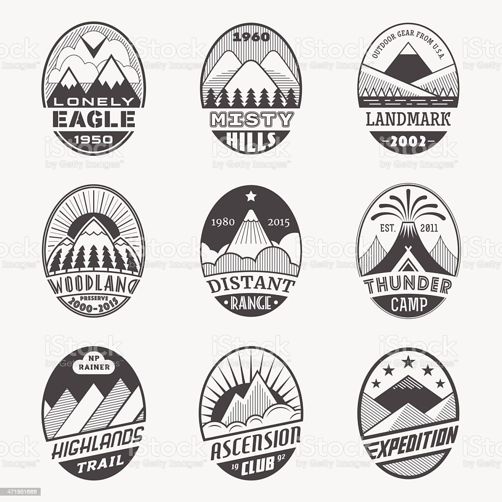 Mountain badge set2i vector art illustration