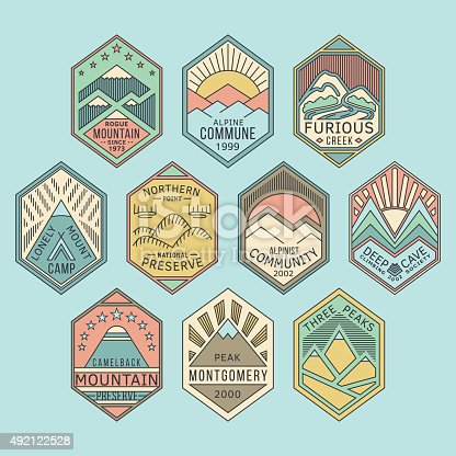 Set of alpinist and mountain climbing outdoor activity vector linear color labels.Logotype templates and badges with mountains,peaks,creeks,trees,sun,tent.National parks and nature exploration symbols