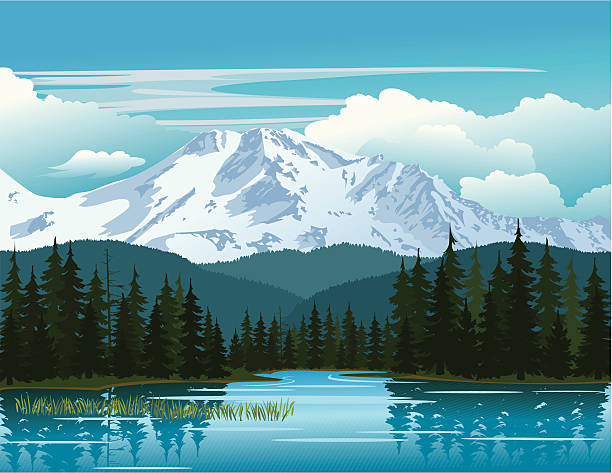ilustraciones, imágenes clip art, dibujos animados e iconos de stock de belleza de las montañas - lago
