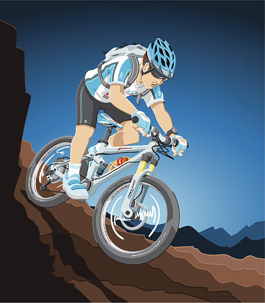 Mountain Bike Action Illustration of a mountain biker, who races down the hill. The background is on a separate layer, so you can use the illustration on your own background. The colors in the .eps-file are ready for print (CMYK). Included files: EPS (v8) and Hi-Res JPG. cycling stock illustrations