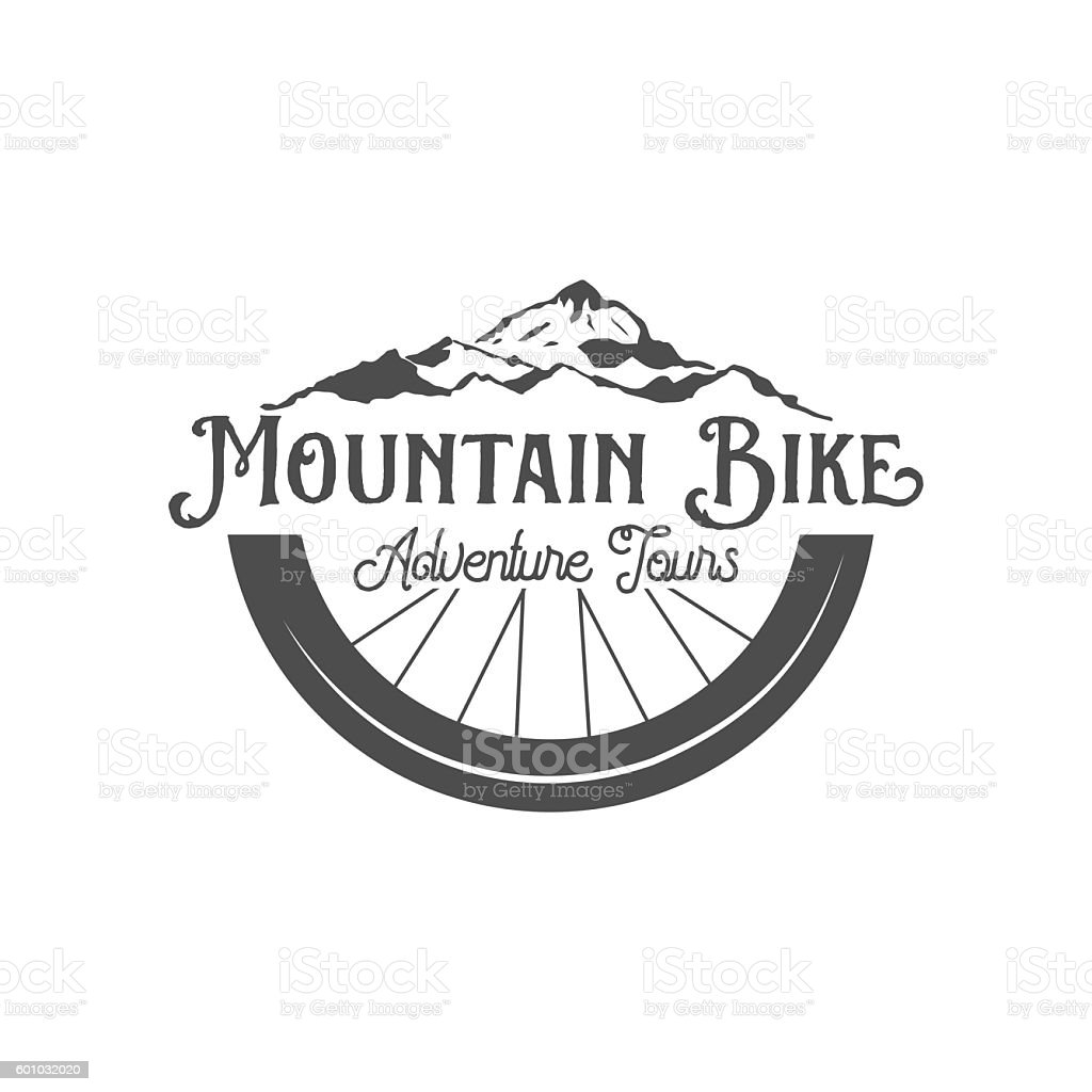 mountain bike badges, logo and labels vector art illustration