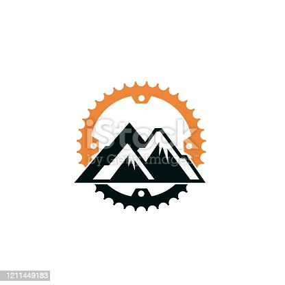 emblem of mountain bike and gear isolated on white background