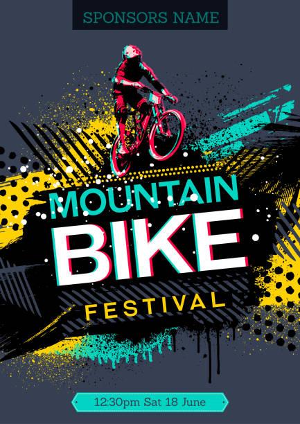 Mountain bike poster vector art illustration