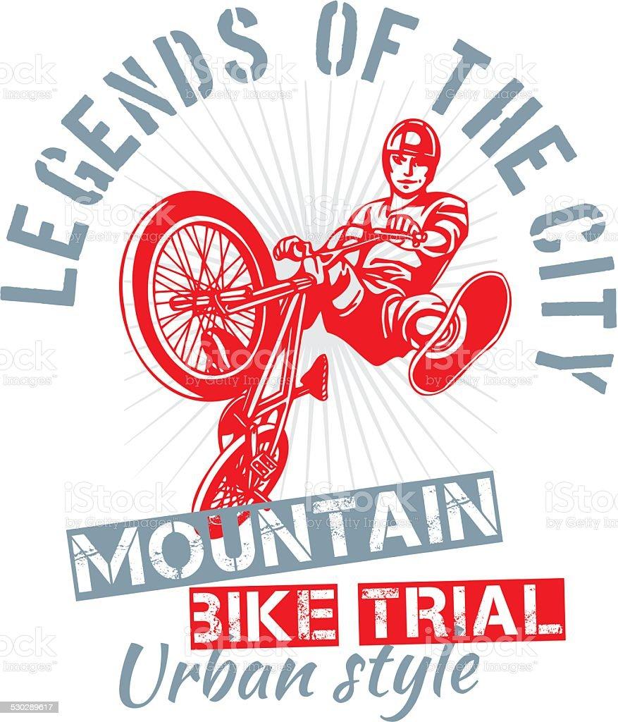Mountain bike trial - vector design vector art illustration