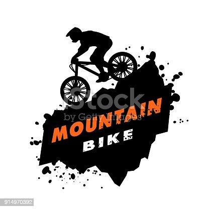 Mountain bike trials. Emblem in grunge style.