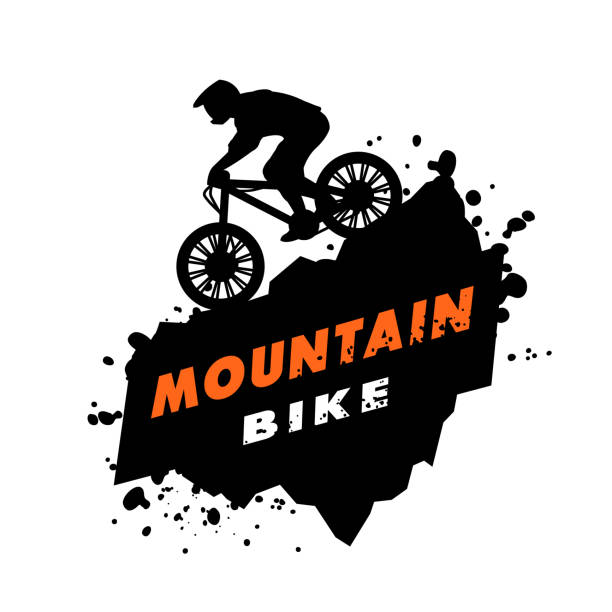 mountain bike trials emblem. - sportmotorräder stock-grafiken, -clipart, -cartoons und -symbole