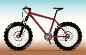 Cartoon style illustration of a modern hardtail Mountain Bike with big grippy tyres.