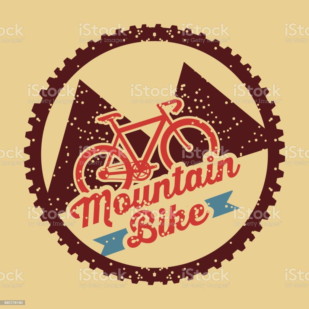 mountain bike vintage style poster vector art illustration
