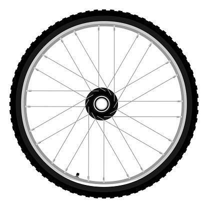 Mountain bike wheel and tyre side view isolated vector illustration