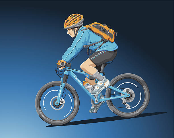 Mountain Biker Blue Illustration of a mountain biker with a double suspension bicycle (side view). The background is on a separate layer, so you can use the illustration on your own background. The colors in the .eps-file are ready for print (CMYK). Included files: EPS (v8) and Hi-Res JPG. cycling stock illustrations