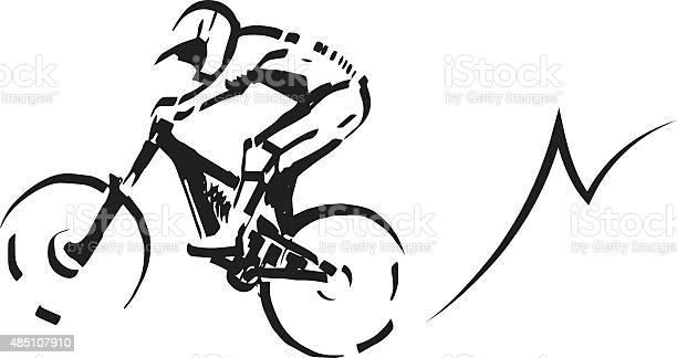 Mountain Biker Illustration Stock Illustration - Download Image Now