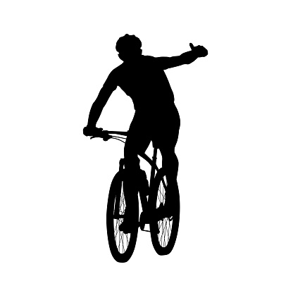 Mountain biker showing thumbs up. Cycling, vector silhouette, front view. Summer sport