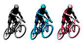 Vector design for 3 versions of same mountain biker