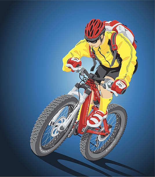 Mountain Biker Illustration of a mountain biker with a double suspension bicycle. The background is on a separate layer, so you can use the illustration on your own background. The colors in the .eps-file are ready for print (CMYK). Included files: EPS (v8) and Hi-Res JPG. cycling stock illustrations